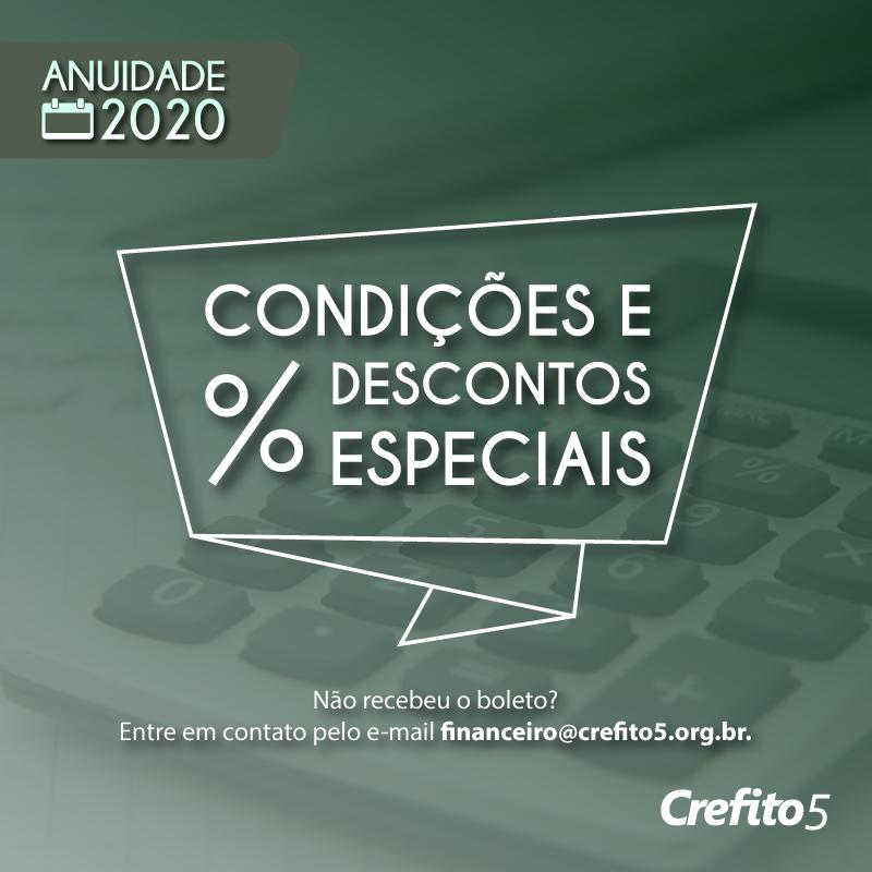 Anuidade 2020: confira os descontos e condições especiais de pagamento!